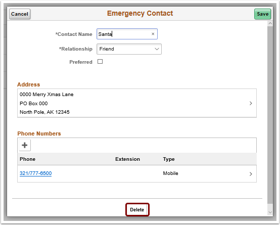 Emergency Contact delete button