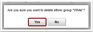 confirmation message to delete