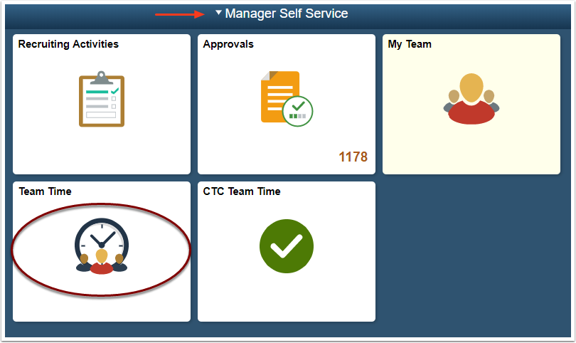 MSS homepage CTC Team Time tile selection