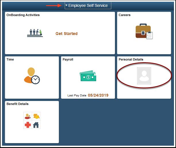 ESS homepage select Personal Detaiils tile