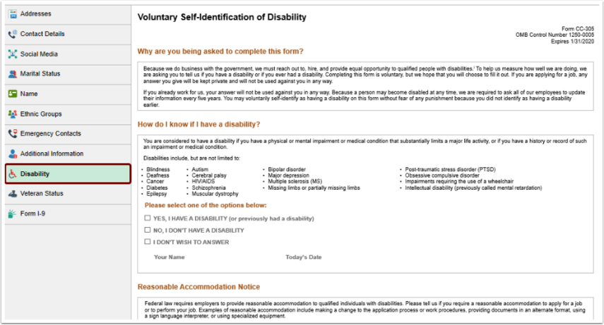 Disability homepage