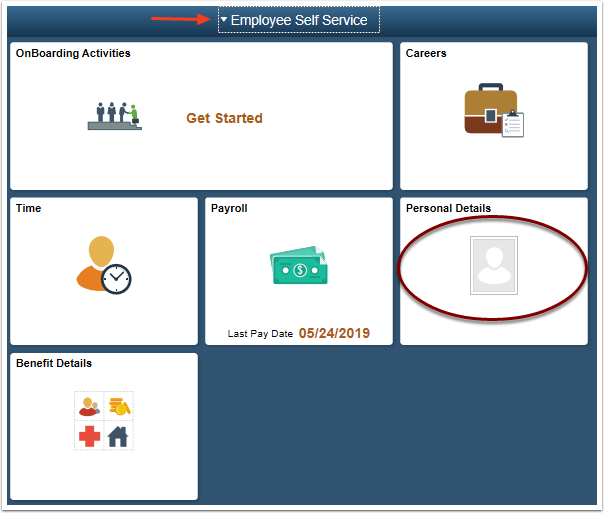 ESS homepage select personal details tile