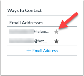Hover over the email address to be able to star it as default