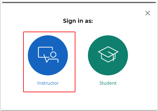 Instructor button selected