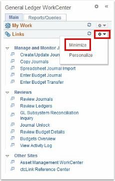 General Ledger WorkCenter, minimize button