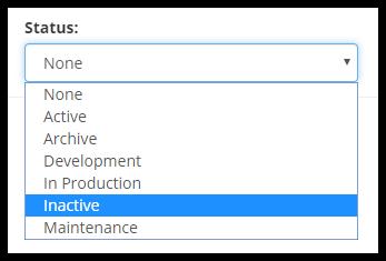 Status dropdown menu highlighting Inactive text,