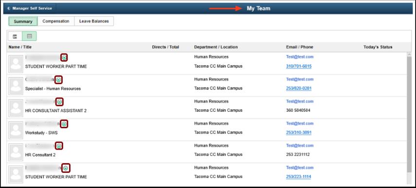 My Team homepage
