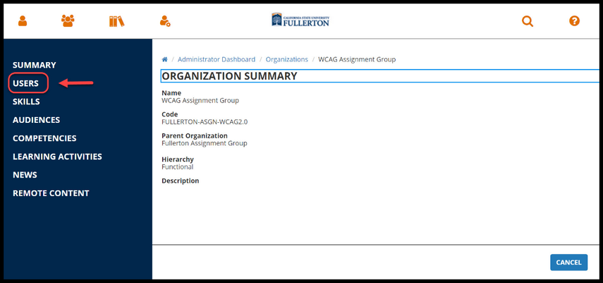 Red arrow pointing to Users on left-hand panel of Organization page.