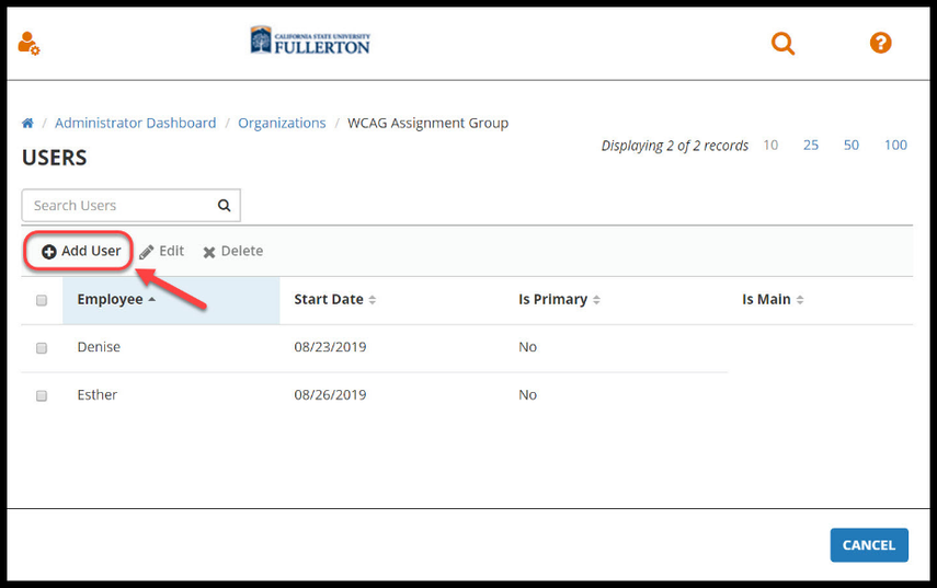 Red arrow pointing to Add User on Organization User page.