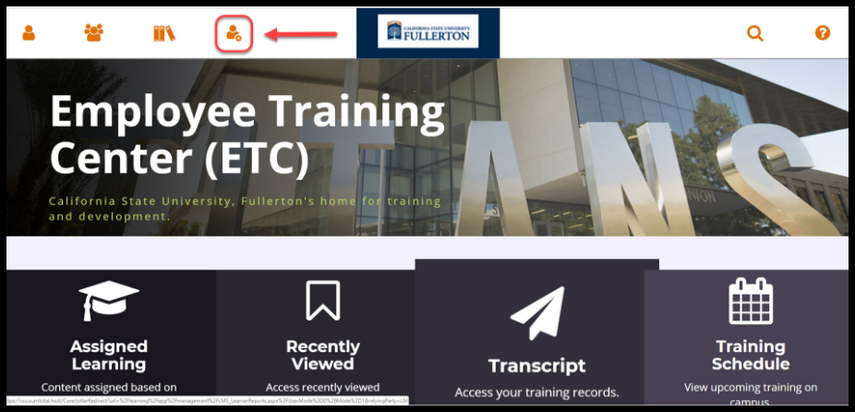 Employee Training Center dashboard / homepage. Red arrow pointing to Admin icon.