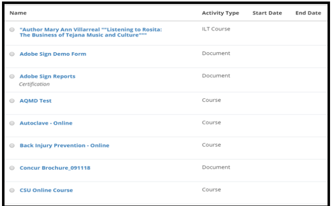 This is a list of available ILT course / class offerings.