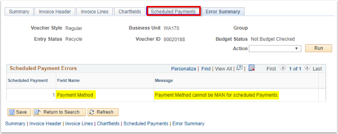 Scheduled Payments tab