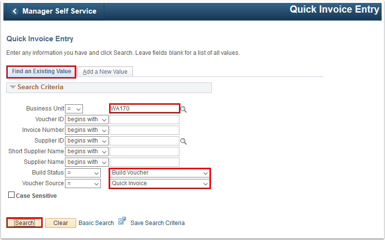 Quick Invoice Entry Find an Existing Value tab