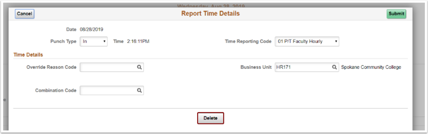 punch time report time details delete