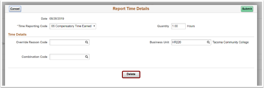 Report Time Details page