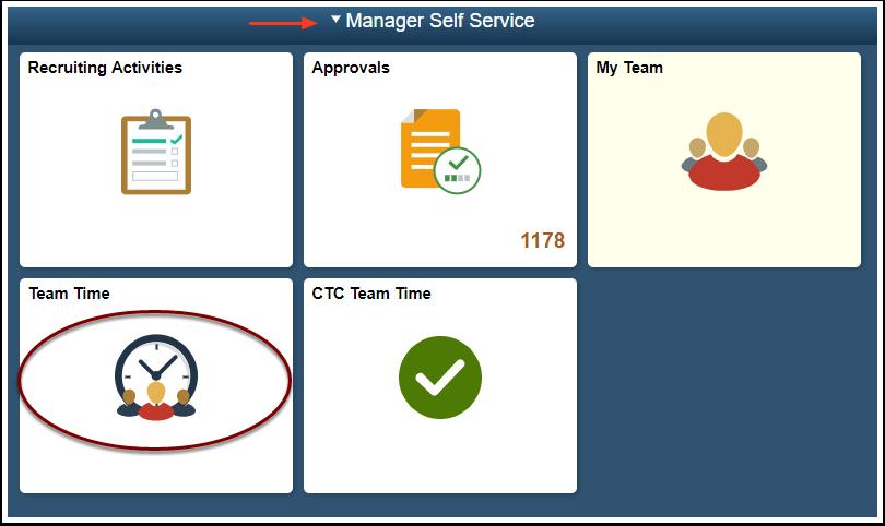 ESS homepage select team time tile