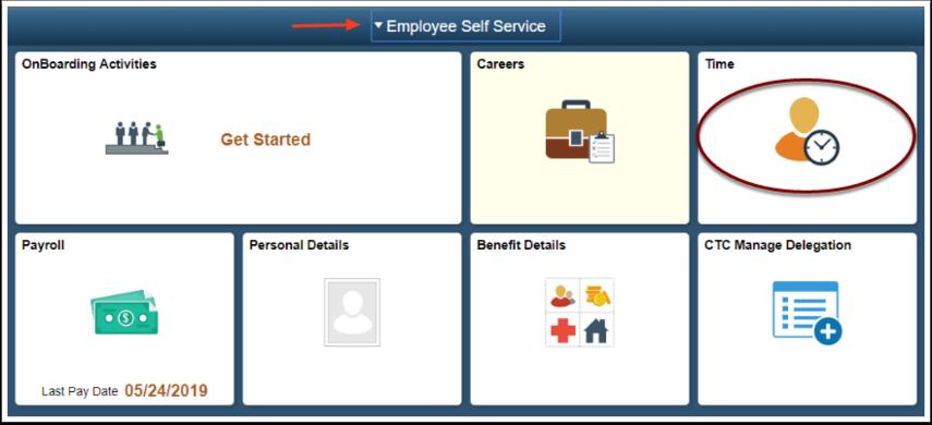 ESS Homepage time tile selection