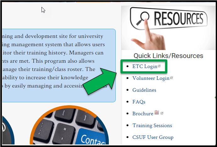 Green arrow pointing to the ETC Login link under Quick Links /  Resources.