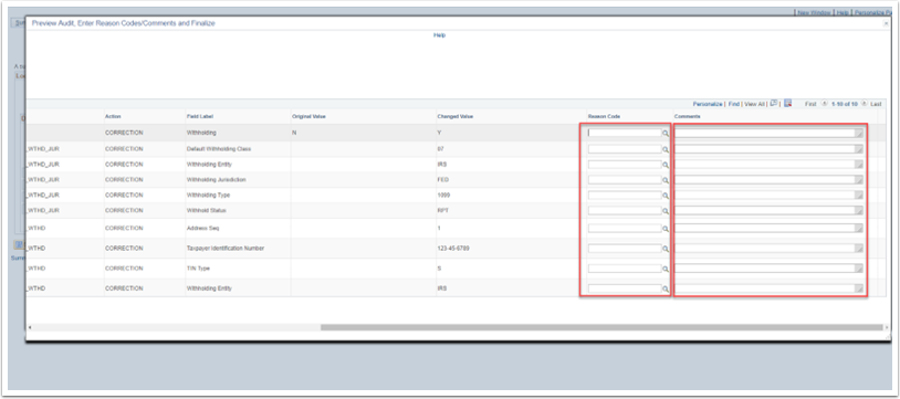 Preview Audit Enter Reason Codes Comments page