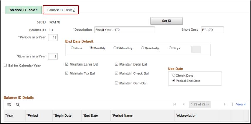 Balance ID Table 2 Tab Selection