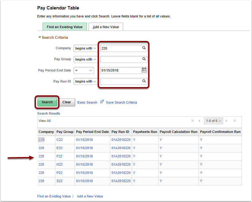 Find an Existing Value page