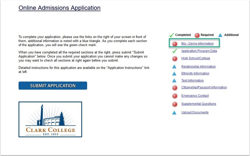 OAA page Bio - Demo Information link highlighted