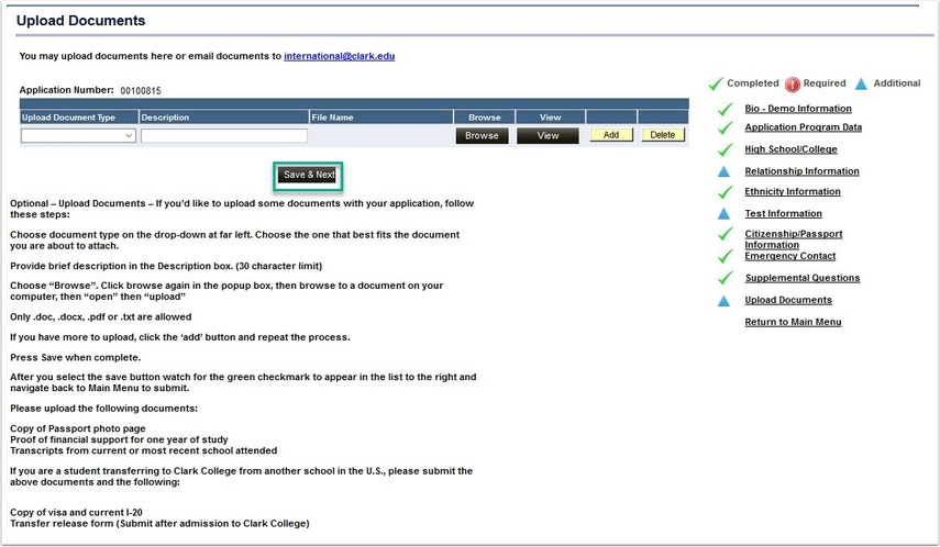 Upload Documents page