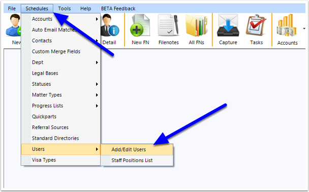 Now go to the top toolbar and choose Schedules > Users > Create New User