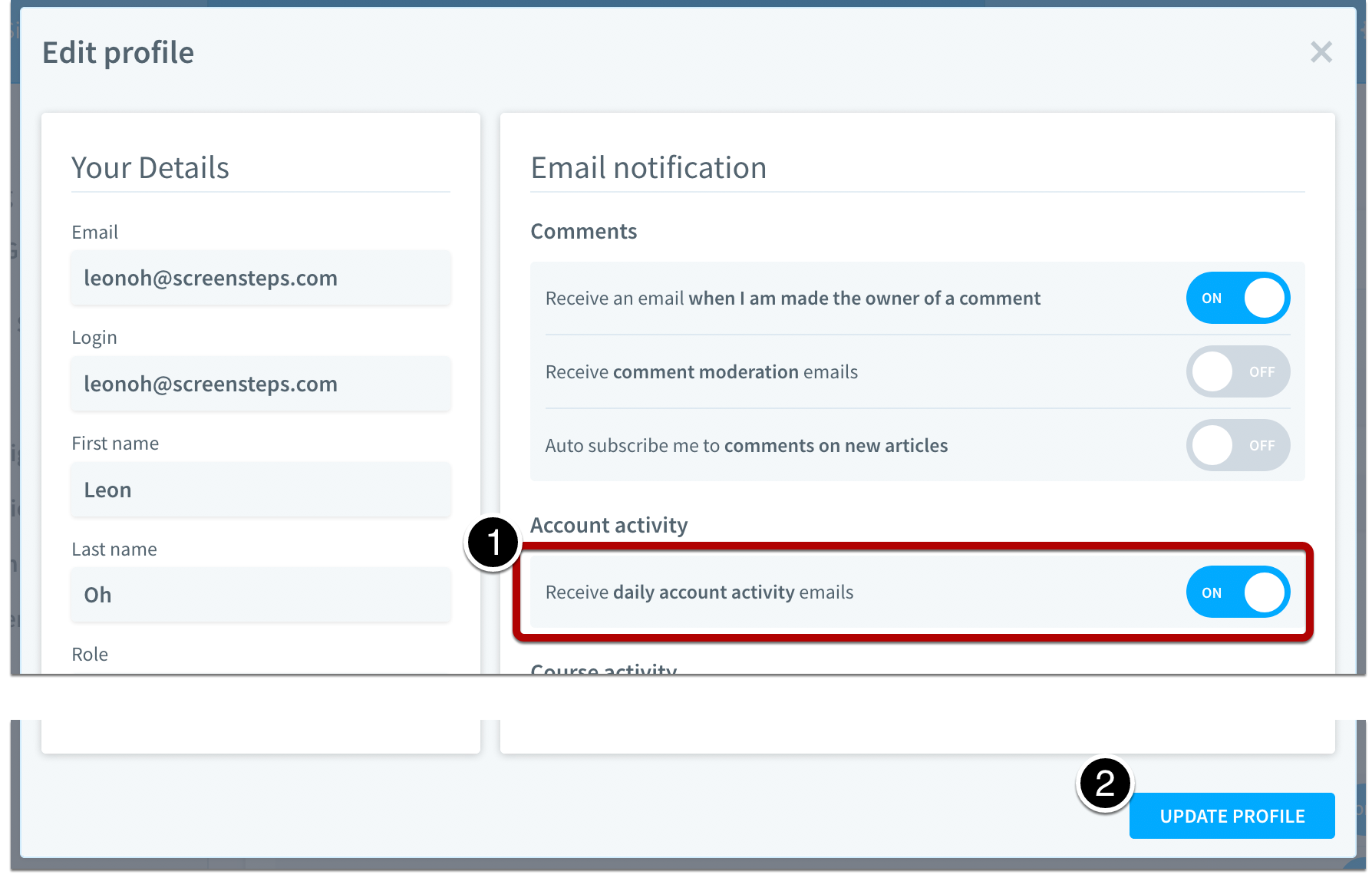 Select Receive daily account activity emails