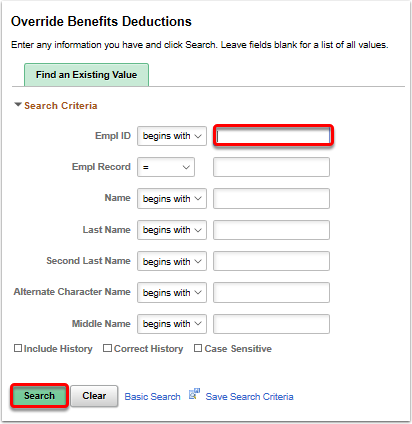 override benefits deductions search