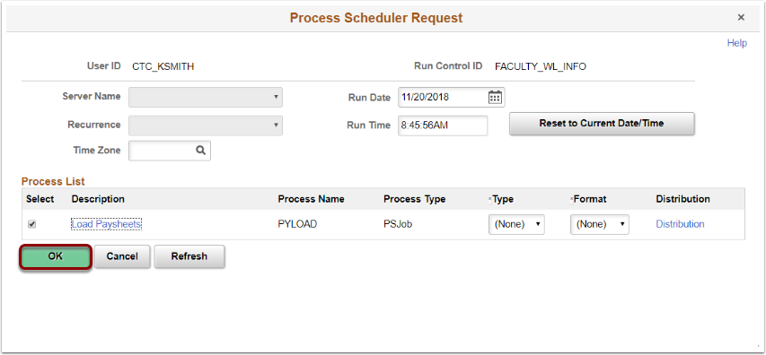 process scheduler request for create and load paysheets