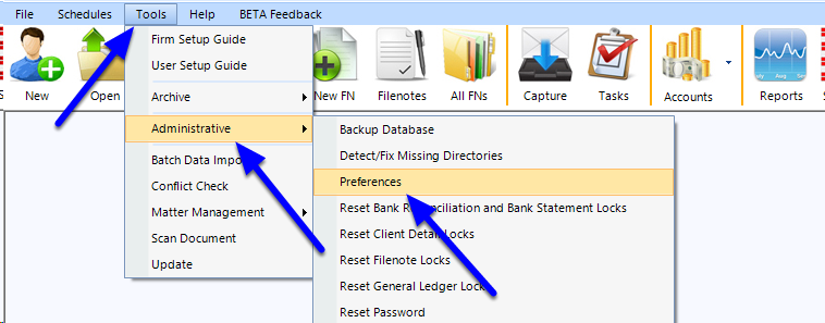In the top toolbar, go to Tools > Administrative > Change Matter ID