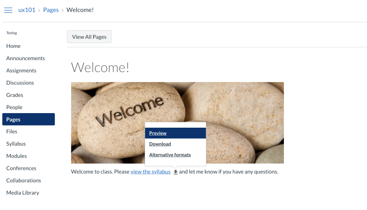 Content linked in Pages by the instructor will have alternative formats available via the drop down menu.
