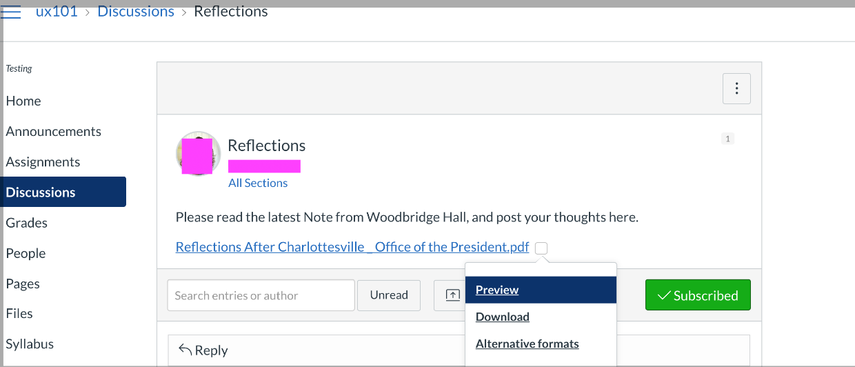 Content linked from discussions by the instructor will have alternative formats available.