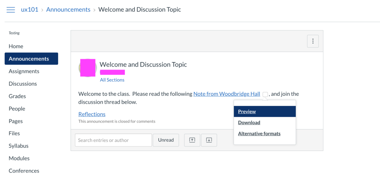 When content is shared directly from within an Announcement posted in a Canvas site, alternative formats of that piece of content will be found where that file is linked.