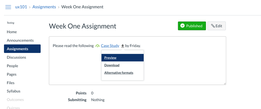 Content shared in an assignment by the instructor will have alternative formats made available