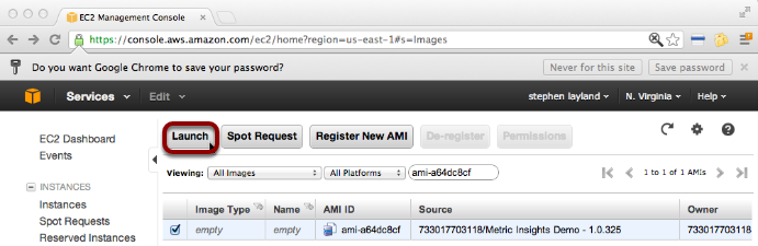 Select the Metric Insights AMI and Launch it