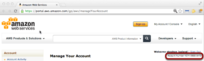 Note your AWS account number