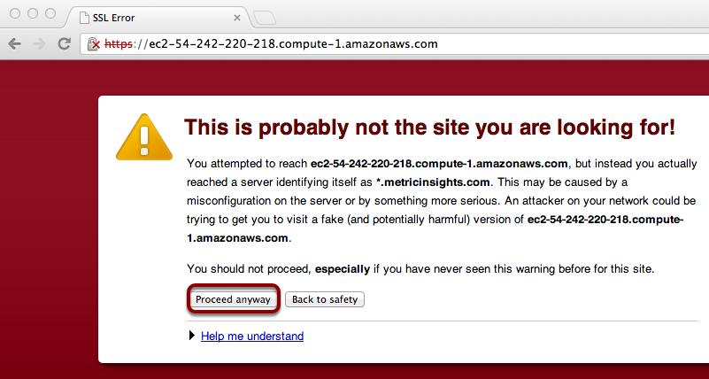 Accept the SSL warning