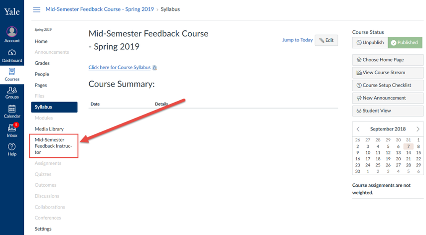 Open the Mid-Semester Feedback Instructor tool