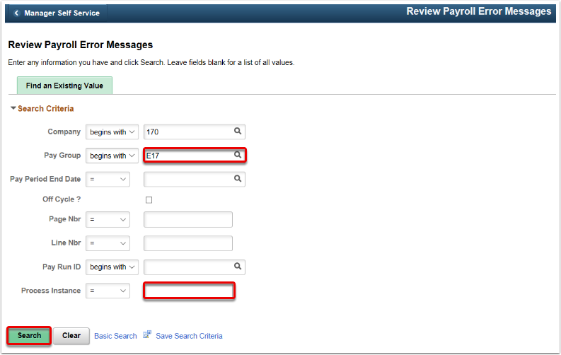 Review Payroll Error Messages Landing Page