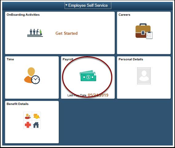 ESS Homepage select Payroll tile