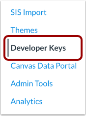 Open Developer Keys