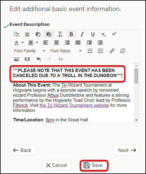 Edit event description
