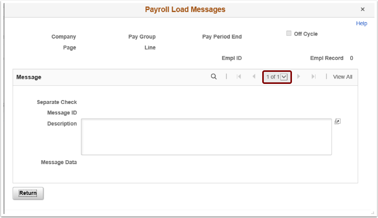 Example of Payroll Load Messages