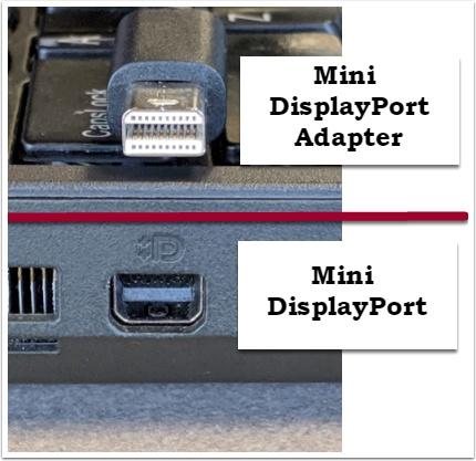 Depicts mini displayport adapter and mini diaplayport