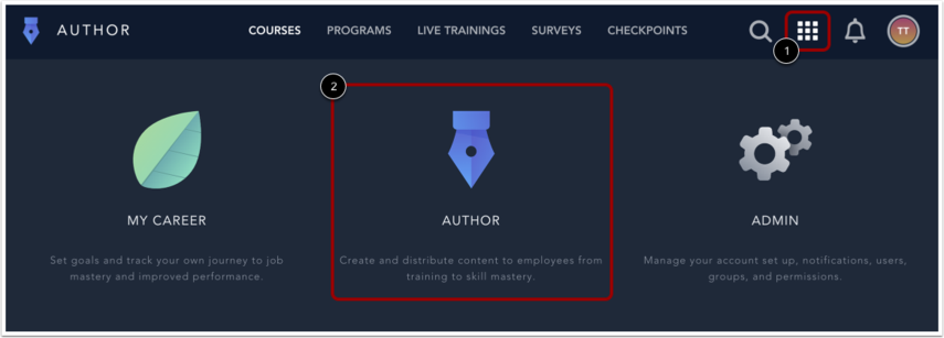 Open Author Menu