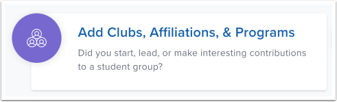 Add Clubs, Affiliations, and Programs