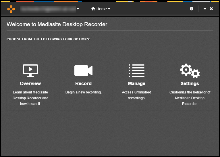 Mediasite Desktop Recorder Dashboard