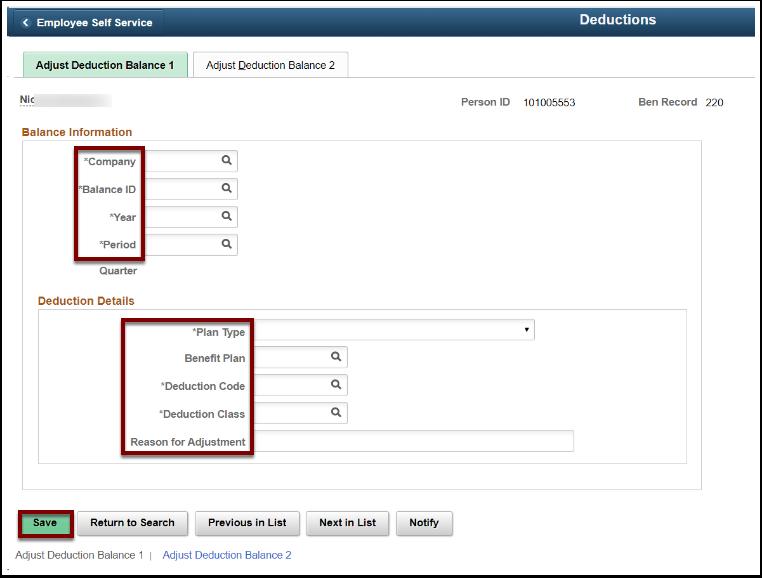 Adjust Deduction Balance 1 tab